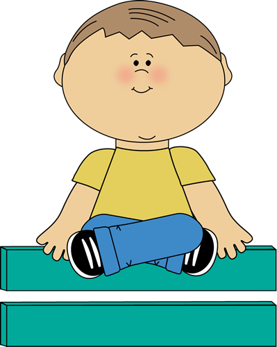 Kid Sitting on Math Equals Sign Clip Art