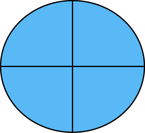 Math Four Quarters Fraction on Shapes Divided Into Halves