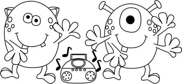 Black and White Dancing Monsters