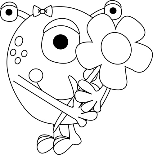 Black and White Black and White Girl Monster Holding a Flower