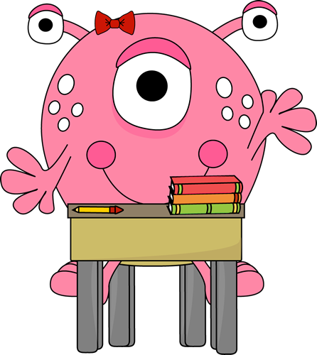 Girl Monster in School Clip Art - Girl Monster in School Image