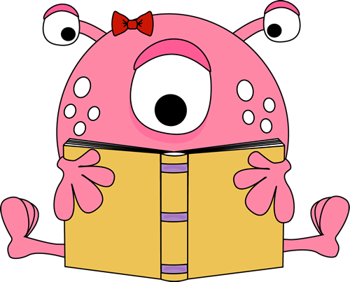 Girl Monster Reading a Book