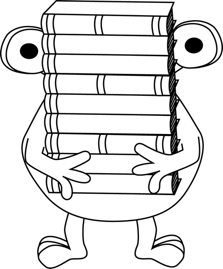 Black and White Monster Carrying Books