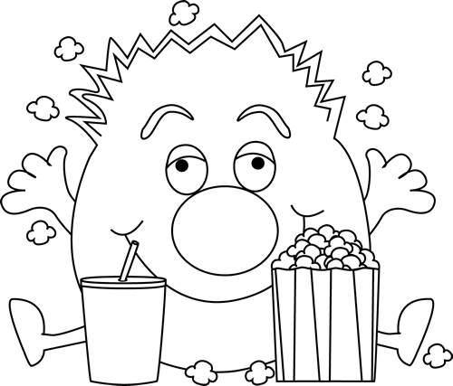 Black and White Monster and Popcorn