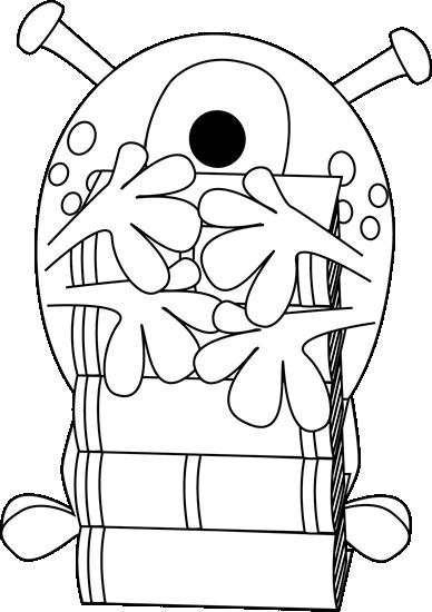 Black and White Monster Hugging Books