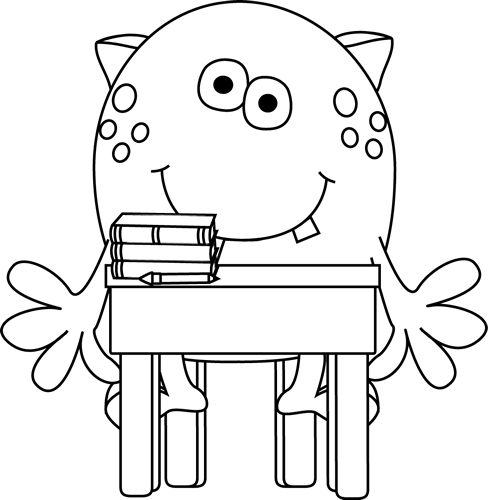 Black and White Monster in School Clip Art - Black and White Monster ...