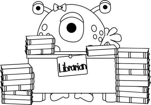 Black and White Black and White Monster Librarian