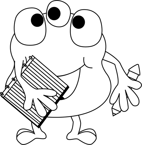 Black and White Black and White Monster with Notebook and Pencil
