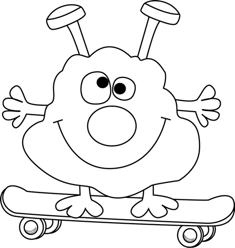 Black and White Monster on a Skateboard