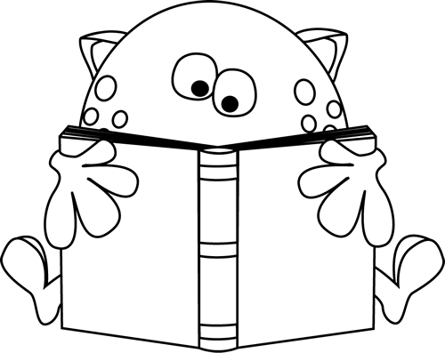 Black and White Black and White Monster Reading a Book
