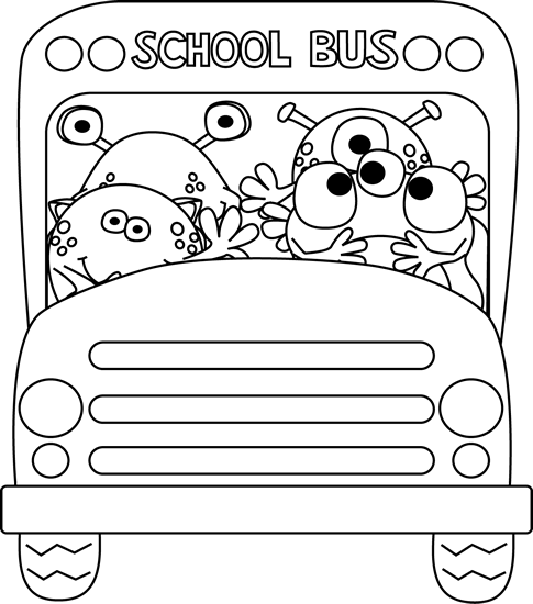Black and White Monster School Bus