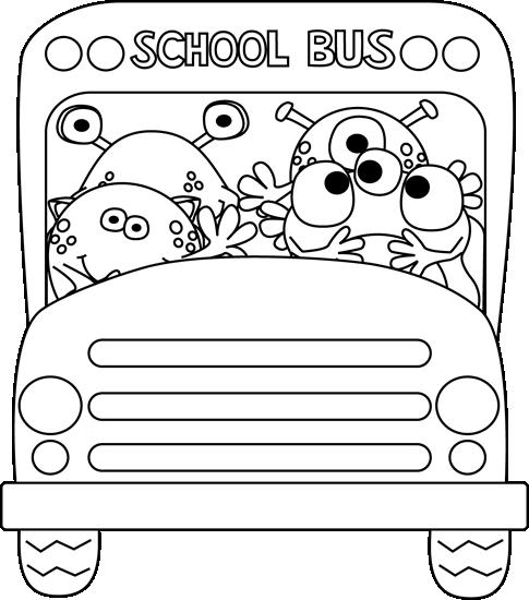 Black and White Monster School Bus