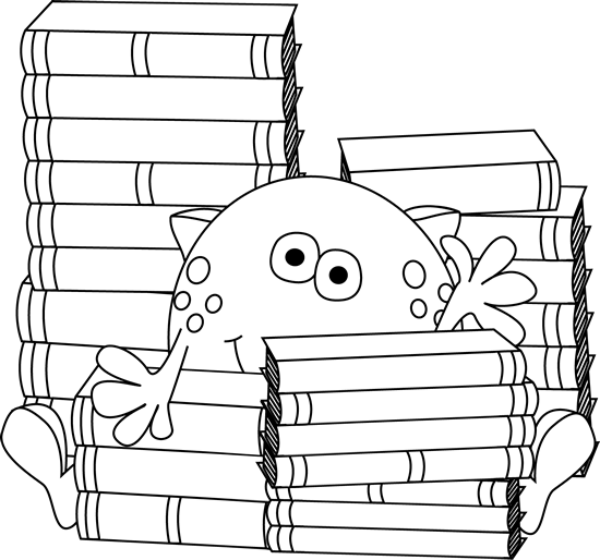 Black and White Monster Surrounded by Books