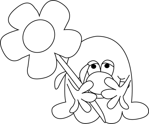 Black and White Monster Holding a Flower