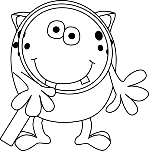 Black and White Monster with Magnifying Glass