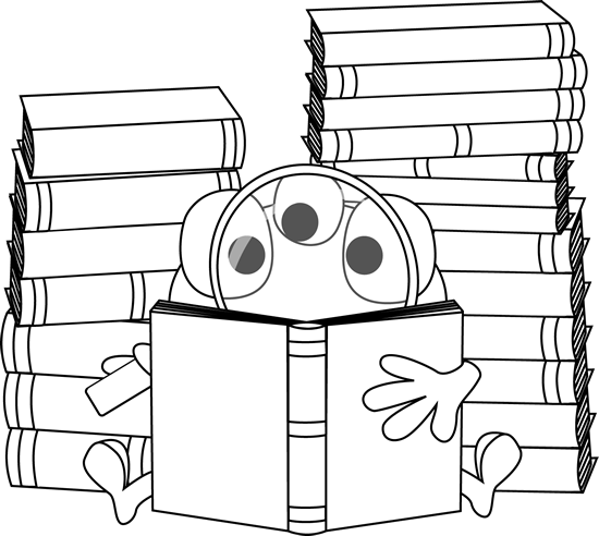 Black and White Three Eyed Monster Reading