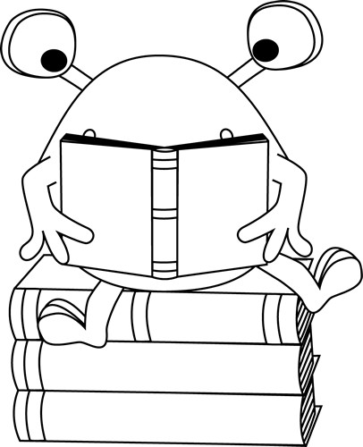 i love my library coloring page - black and white two eyed monster reading clip art black