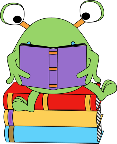 Two-Eyed Monster Reading a Book Clip Art