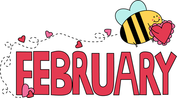 February Valentine Love Bee Clip Art Image - the word February in pink ...