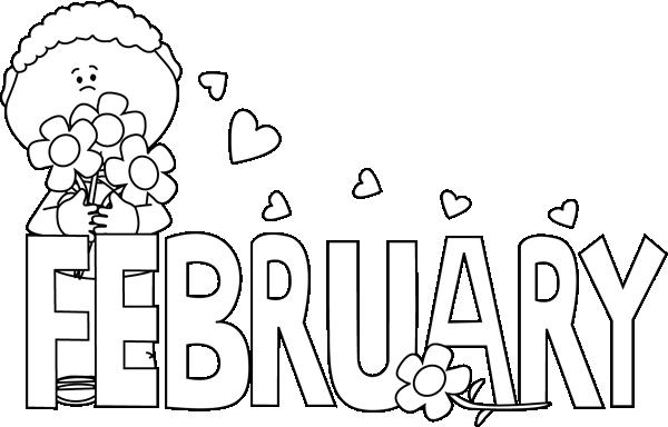 Calendar Illustration Png : Black and white february valentine s day clip art
