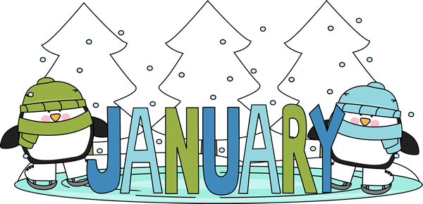 January Calendar Clipart : Month of january winter penguins clip art