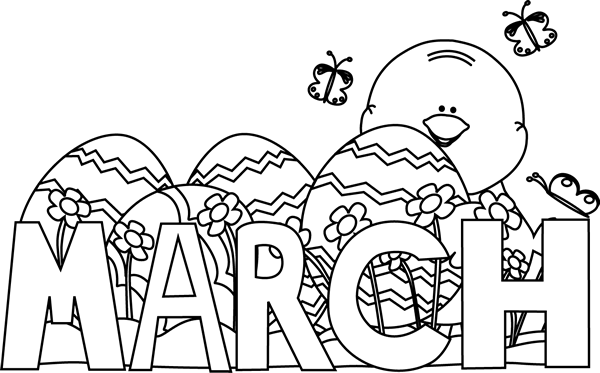 Black and White Month of March Easter Clip Art - Black and ...