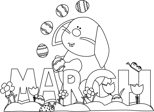Black and White Month of March Easter Bunny
