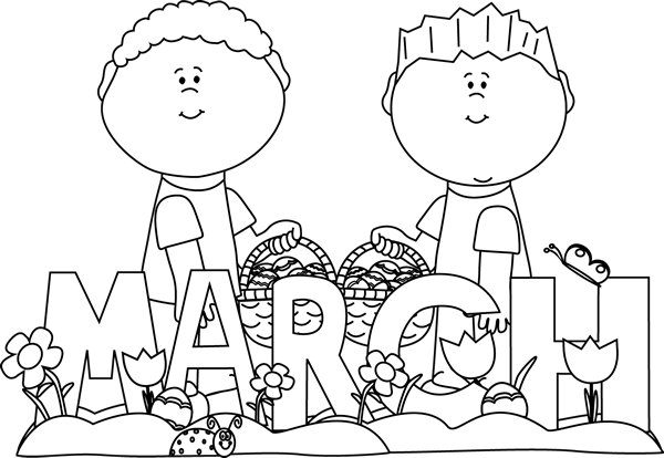 March Clip Art Black And White March Easter Kids Clip Art