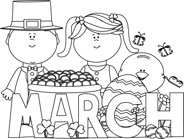 Black and White March Holidays Clip Art - Black and White ...