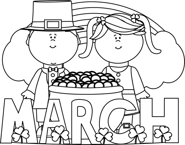 Black and White Month of March Saint Patrick's Day Clip ...