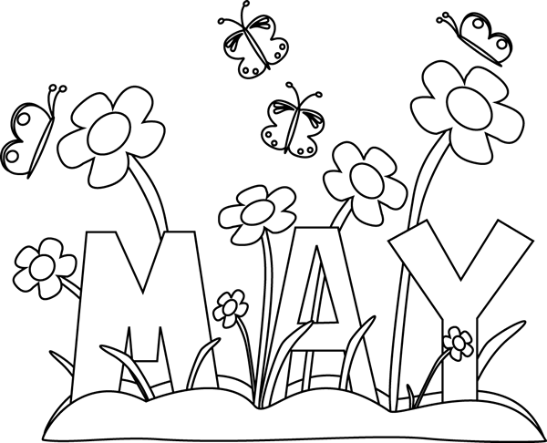 Black and White Month of May Flowers