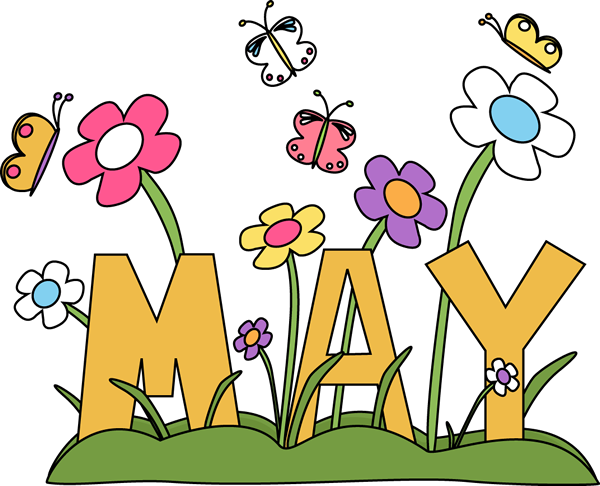 Month of may Flowers Clip Art Image - the word May surrounded by ...