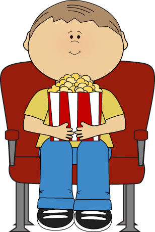 Boy in Movie Theater Clip Art - Boy in Movie Theater Image