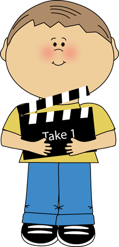Boy with Movie Clapperboard