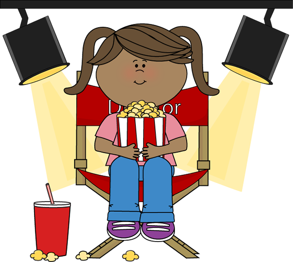 Girl Eating Popcorn in Director's Chair