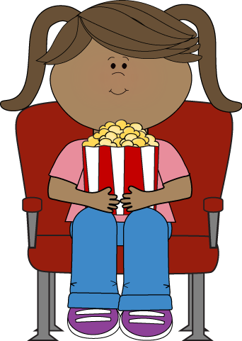 Girl Watching Movie in Theater Clip Art - Girl Watching ...