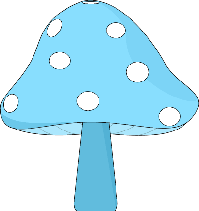 Blue Mushroom Clip Art Image - This blue mushroom has a blue cap with ...