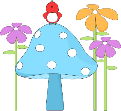 Mushroom with a Bird and Flowers