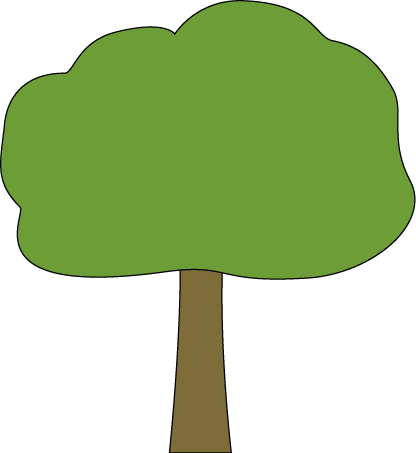 Oak Tree with Black Outline