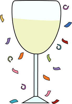 Champagne Glass and Confetti Clip ArtChampagne Glass and