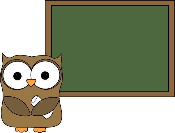 Owl and Blank Chalkboard