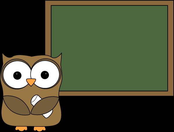 Owl and Blank Chalkboard