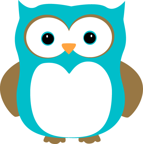 Blue and Brown Owl Clip Art Image - blue owl with blue eyes and brown    Cute Owl Clip Art