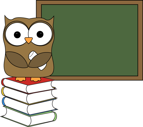 Owl with Books and Chalkboard