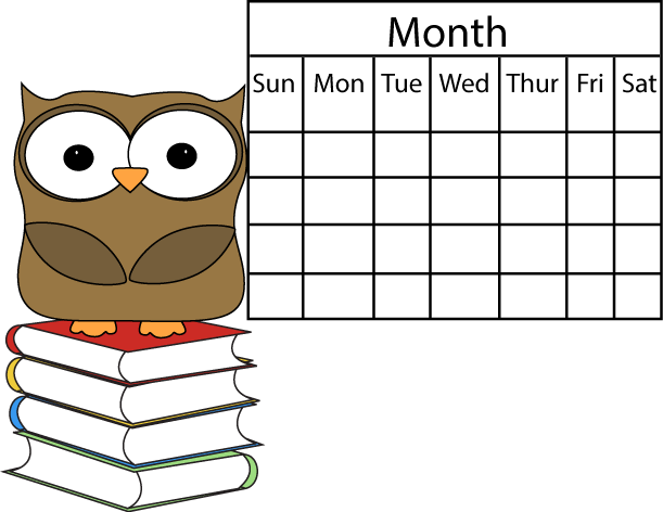 Blank Calendar Clipart Black And White : Owl and calendar clip art image