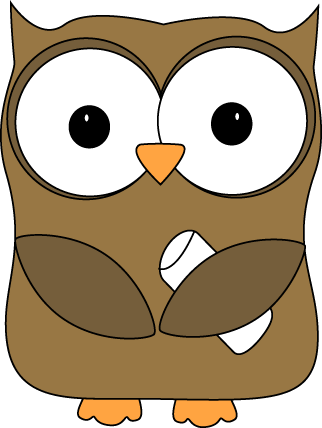 Owl with Chalk Clip Art - Owl with Chalk Image