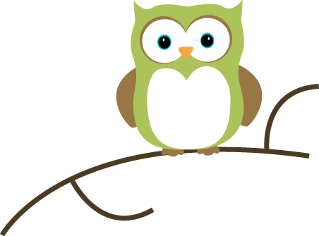 Owl on a Branch Clip Art Image - cute green owl sitting on a bare tree    Cute Owl Clip Art