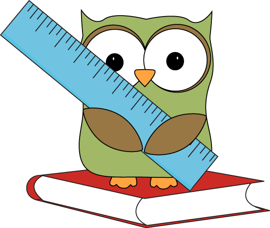 Owl Sitting on a Book with a Ruler