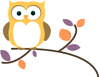 Yellow Owl on a Branch Clip Owl Tree Branch Clip Art