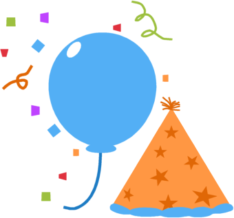 Balloon, Party Hat and Confetti Clip Art Image